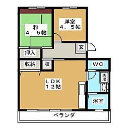 仲田苑[3階]の間取り