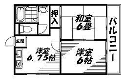 京阪本線 土居駅 徒歩9分の賃貸マンション 4階2DKの間取り