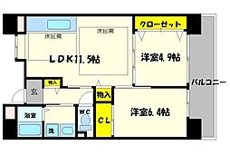 OPH北千里駅前2号棟[8階]の間取り
