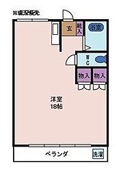 ピアネーズ小長井 5階ワンルームの間取り
