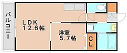福岡県春日市上白水7丁目の賃貸マンションの間取り