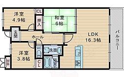 北大阪急行電鉄 緑地公園駅 徒歩8分の賃貸マンション 7階3LDKの間取り