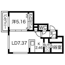 カーサ・スペラーレ 3階1LDKの間取り