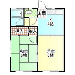 第一城南荘[203号室]の間取り