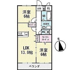 ルナパーク 2階[202号室]の間取り