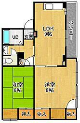 甲東園ハイツ[3階]の間取り
