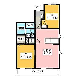 サニーウェル久保田 1階2LDKの間取り