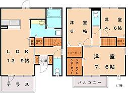 [テラスハウス] 福岡県古賀市今の庄2丁目 の賃貸【/】の間取り
