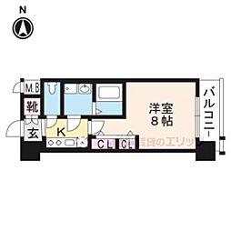 エステムコート京都西大路609 6階1Kの間取り