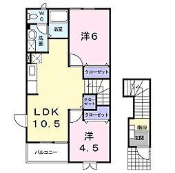 静岡県浜松市北区引佐町金指の賃貸アパートの間取り