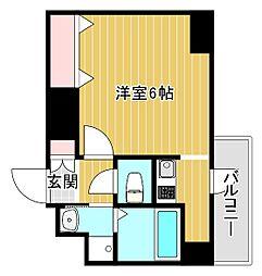 スプランディッド難波元町DUE 2階1Kの間取り