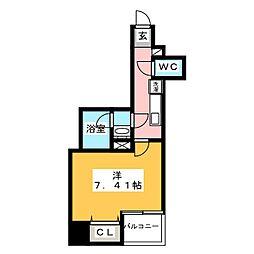 グランカーサ上野入谷 9階1Kの間取り