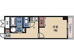 IF都島 6階1Kの間取り
