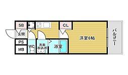 メインステージ大阪ノースマーク 4階1Kの間取り