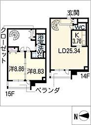 レジディア東桜II(西向)[15階]の間取り