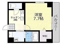 阪急宝塚本線 池田駅 徒歩2分の賃貸マンション 2階1Kの間取り