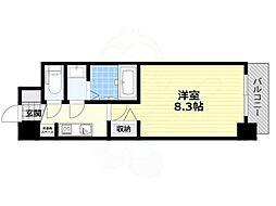 近鉄南大阪線 北田辺駅 徒歩7分の賃貸マンション 9階1Kの間取り