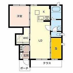シャーメゾン新中島[102号室]の間取り