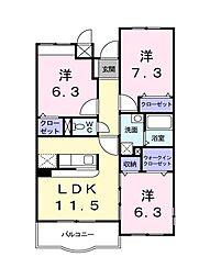 フォレスターレ[3階]の間取り