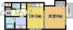 サザン桃山御陵[3階]の間取り