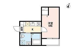 名古屋市営東山線 八田駅 徒歩9分の賃貸アパート 1階1Kの間取り