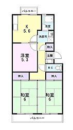 静岡県三島市安久の賃貸マンションの間取り