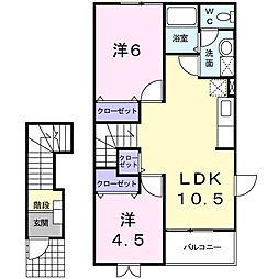 愛知県西尾市下矢田町円入庵の賃貸アパートの間取り