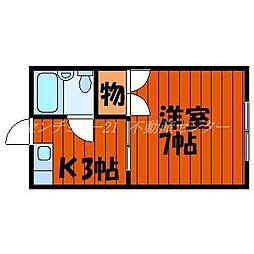 JR山陽本線 岡山駅 バス10分 岡電バス京山中学校前バス停下車 徒歩2分の賃貸アパート 1階1Kの間取り