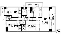 兵庫県宝塚市谷口町の賃貸マンションの間取り