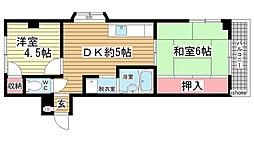 青谷ハイツUEDA[301号室]の間取り