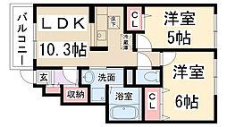 兵庫県伊丹市大野2丁目の賃貸アパートの間取り