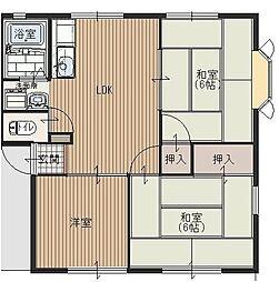 パインヒルB[1階]の間取り