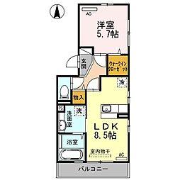 山口県山陽小野田市高栄2丁目の賃貸アパートの間取り