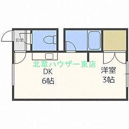 北海道札幌市東区北二十五条東1丁目の賃貸アパートの間取り