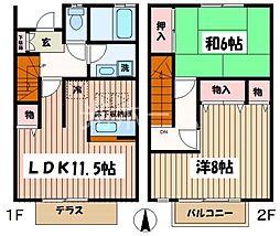 [テラスハウス] 東京都清瀬市中清戸5丁目 の賃貸【東京都 / 清瀬市】の間取り