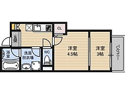 Gradito神崎川[3階]の間取り