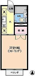 東京都江戸川区東葛西2丁目の賃貸アパートの間取り