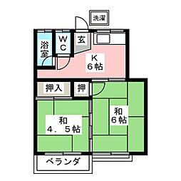 川口荘 南[2階]の間取り