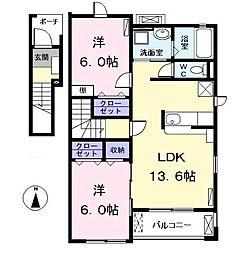 愛知県北名古屋市野崎城屋敷丁目の賃貸アパートの間取り