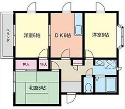 神奈川県海老名市中新田2丁目の賃貸アパートの間取り