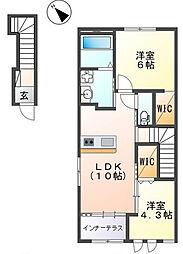 仮)阿見町よしわらペット可新築アパート 2階2LDKの間取り