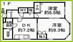 JR日豊本線 築城駅 徒歩9分の賃貸アパート 1階2DKの間取り