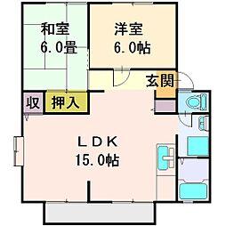 埼玉県富士見市山室2丁目の賃貸アパートの間取り