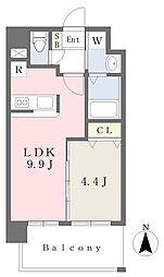 ランドマーク原 4階1LDKの間取り