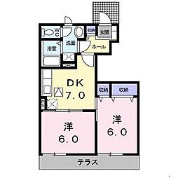 福岡県福岡市早良区田村3丁目の賃貸アパートの間取り