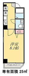 京成押上線 四ツ木駅 徒歩6分の賃貸マンション 5階1Kの間取り