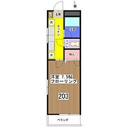 コーポカズサ[203号室]の間取り