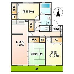 岡山県倉敷市老松町5丁目の賃貸アパートの間取り