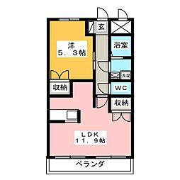 エトワールシャトー 1階1LDKの間取り