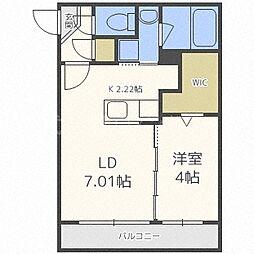 札幌市電2系統 西線11条駅 徒歩1分の賃貸マンション 4階1LDKの間取り